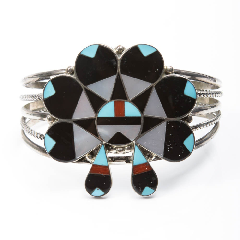 Native American Style Sterling Silver Inlaid Stone Cuff Bracelet