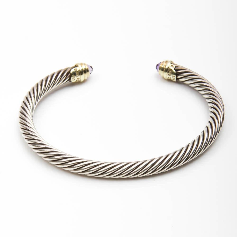 David Yurman Sterling and Gold Bracelet with Gemstones