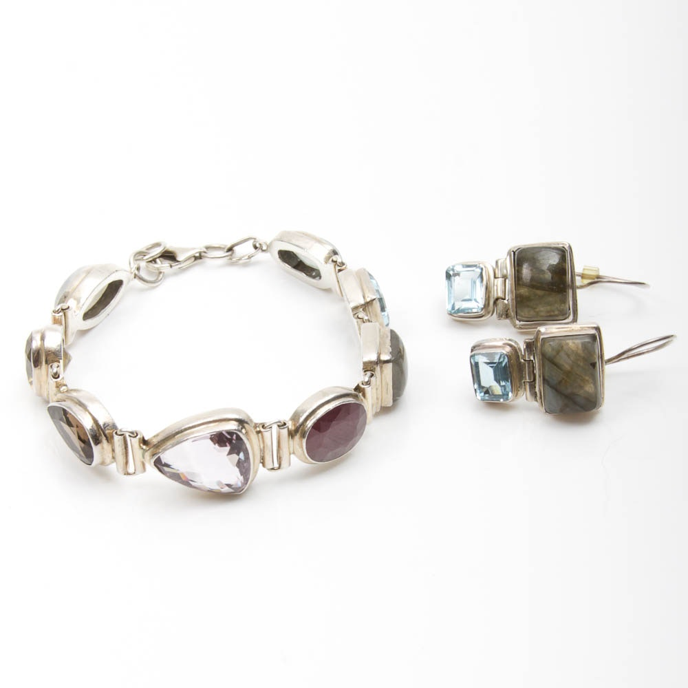 Sterling Silver and Gemstone Earrings and Bracelet