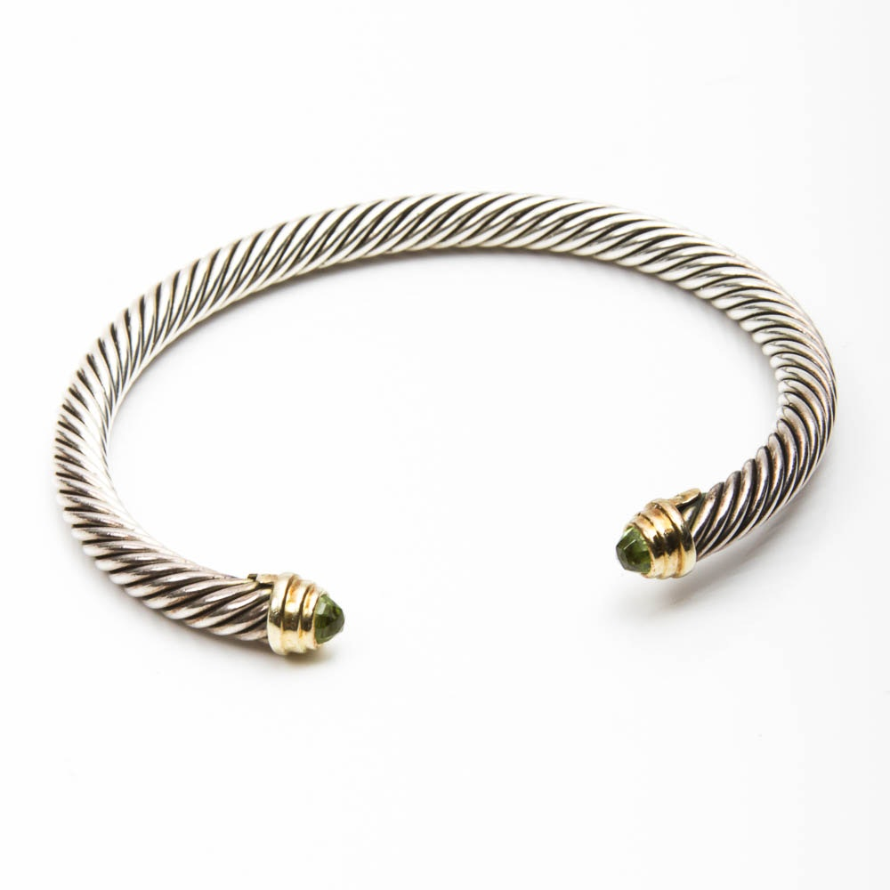 David Yurman Sterling Silver and 14K Gold Cuff Bracelet