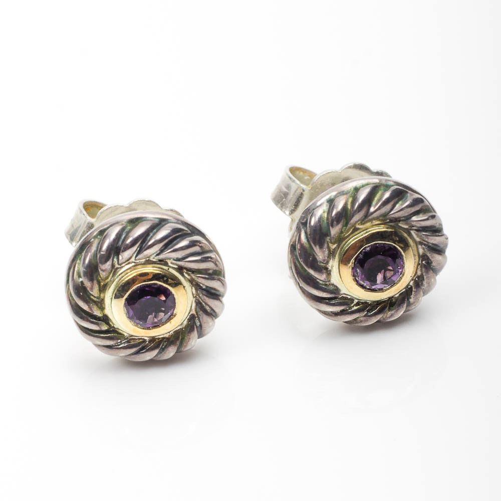 David Yurman Sterling Silver and 14K Gold Stud Earrings