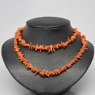 Branch Coral Necklace With Antique Sterling Silver Clasp