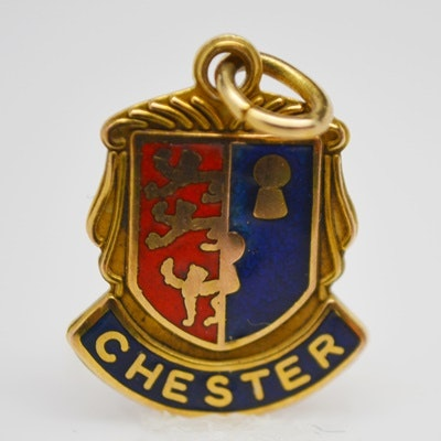 9K Yellow Gold Chester Shield Charm