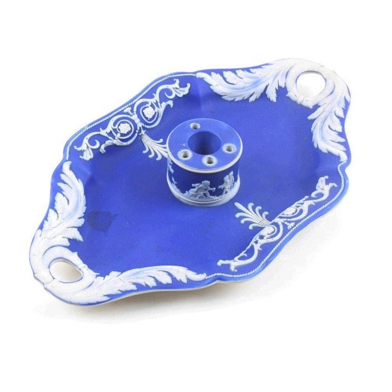 Wedgwood Cobalt Blue Jasperware Inkwell and Tray