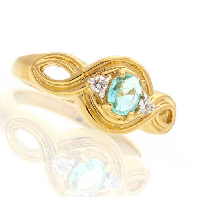 18K Yellow Gold Blue Topaz and Diamond Ring