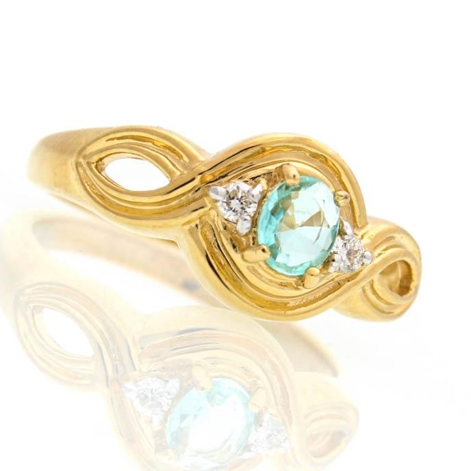 18K Yellow Gold Blue Topaz and Diamond Ring