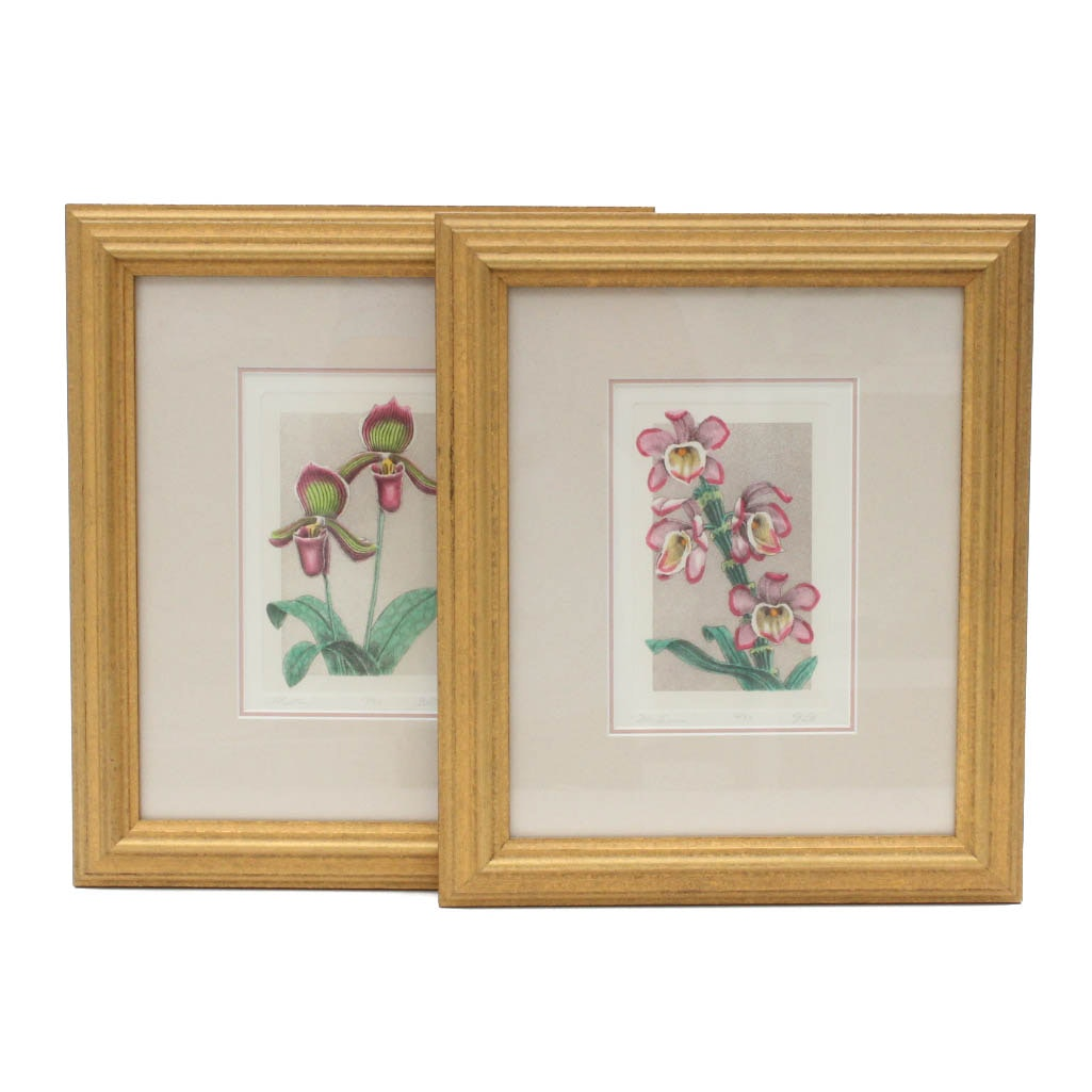 Limited Edition Floral Aquatint Etchings