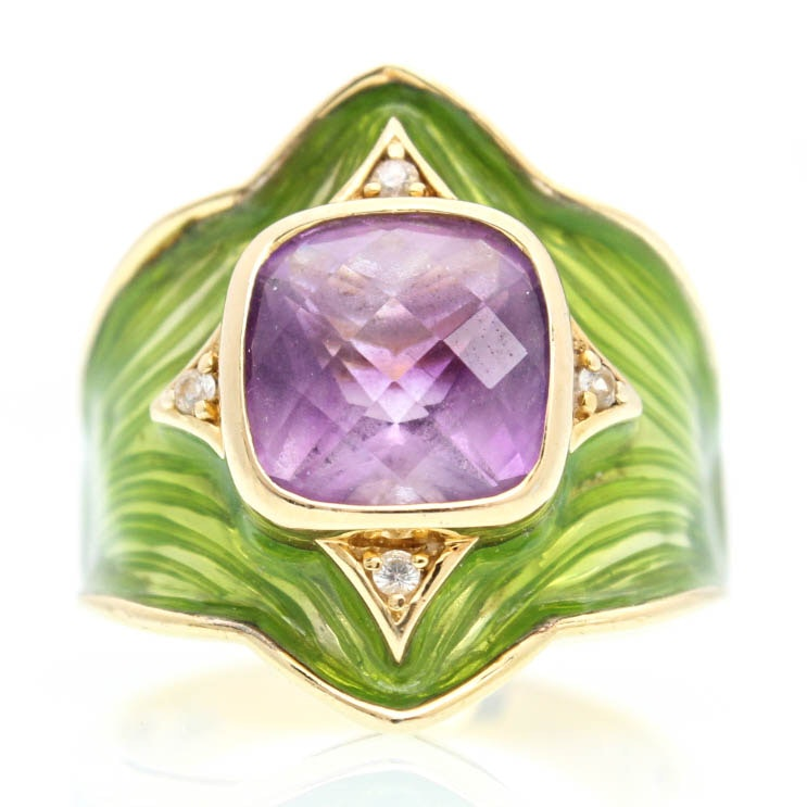 Gold Plated Sterling Silver Amethyst, Cubic Ziconia, and Enamel Ring