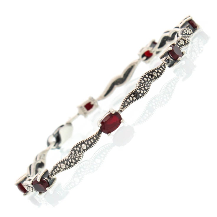 Sterling Silver Marcasite and Synthetic Stone Bracelet