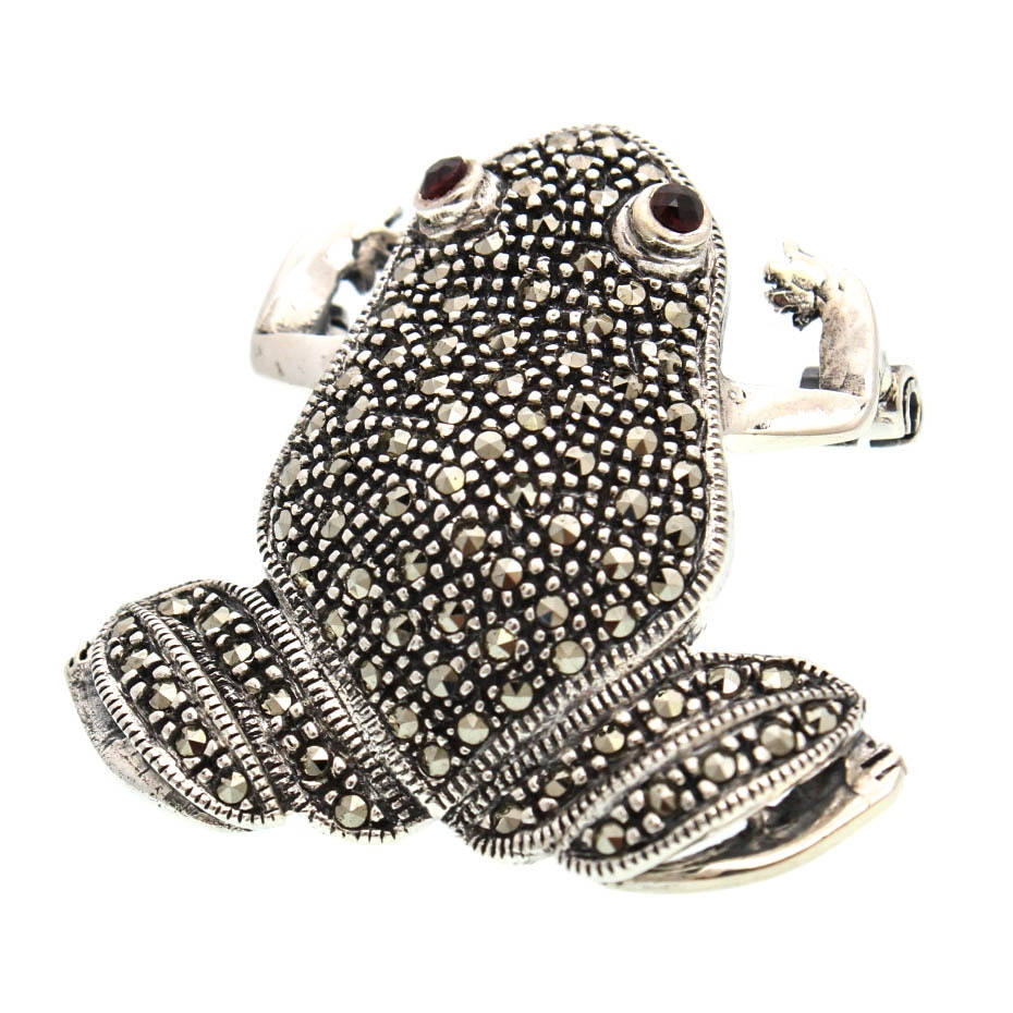 Sterling Silver Marcasite and Garnet Frog Brooch