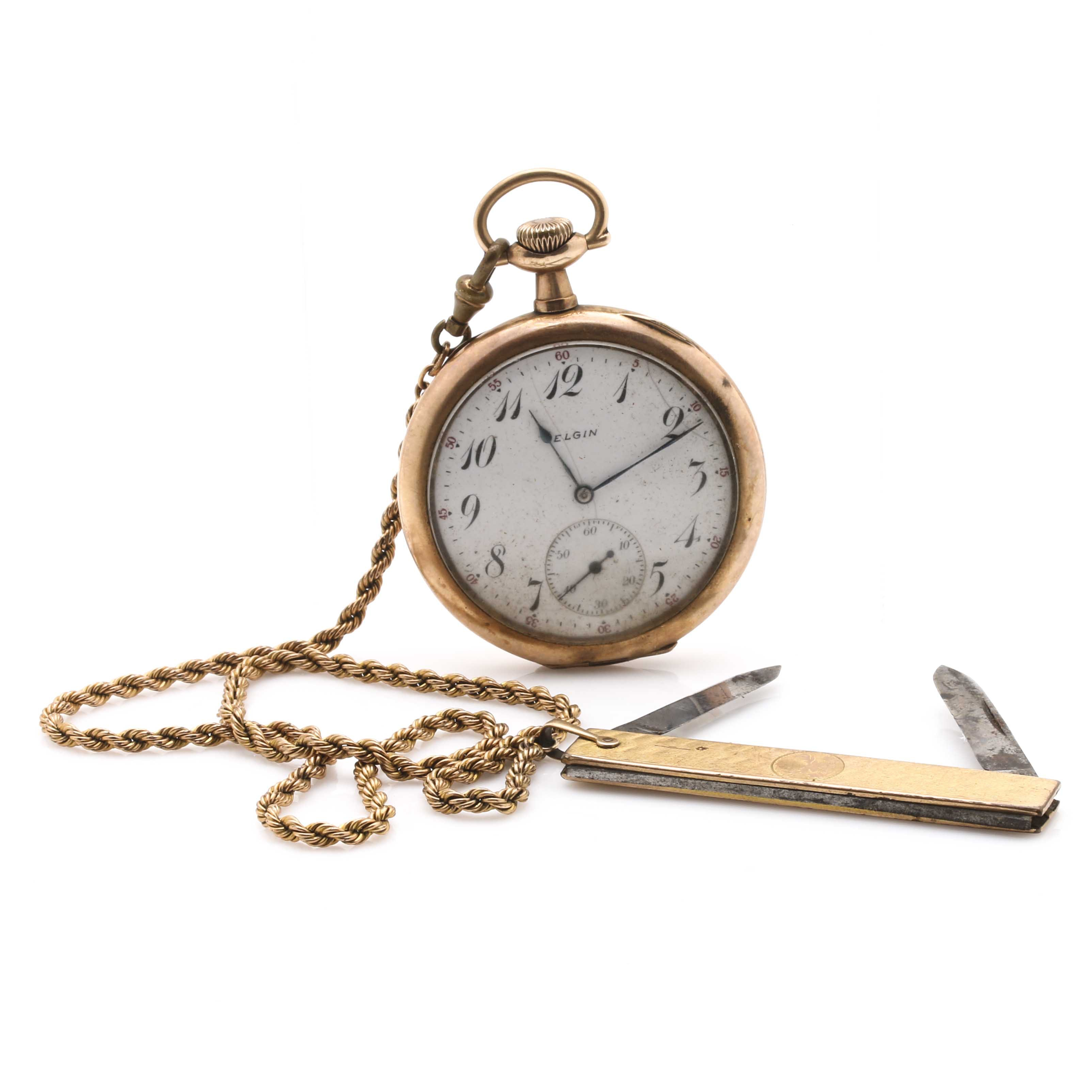 Antique Gold-Filled Elgin Pocketwatch With Link Fob Chain and A&Z BPOE Pocket Knife