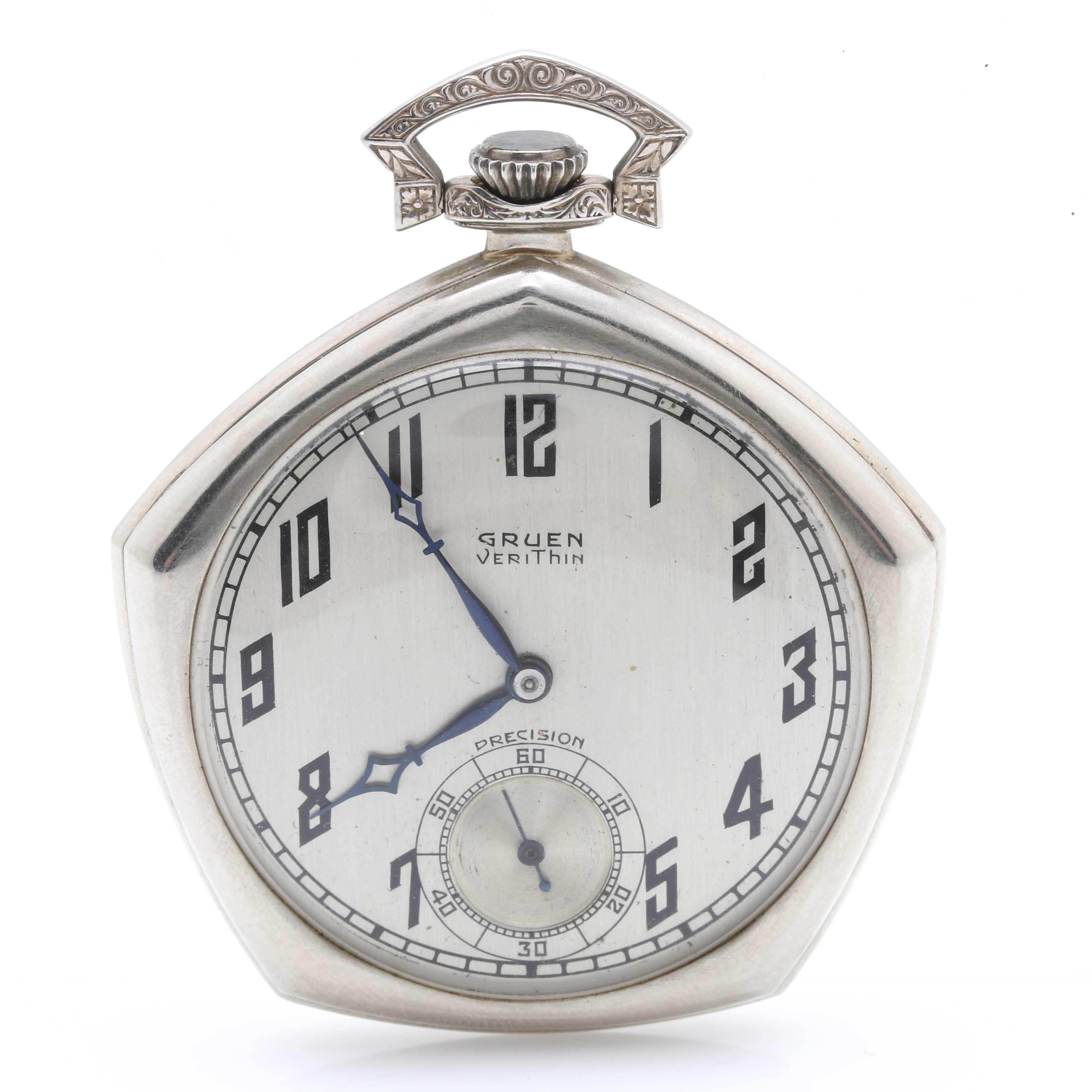 14K White Gold Gruen VeriThin Precision Pocket Watch
