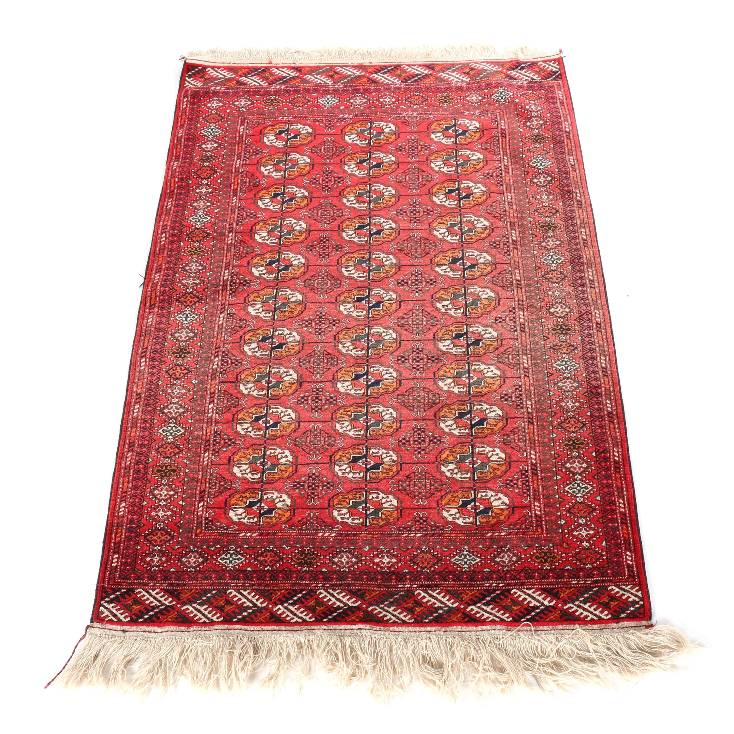 Hand-Knotted Turkmenistan Bokhara Area Rug