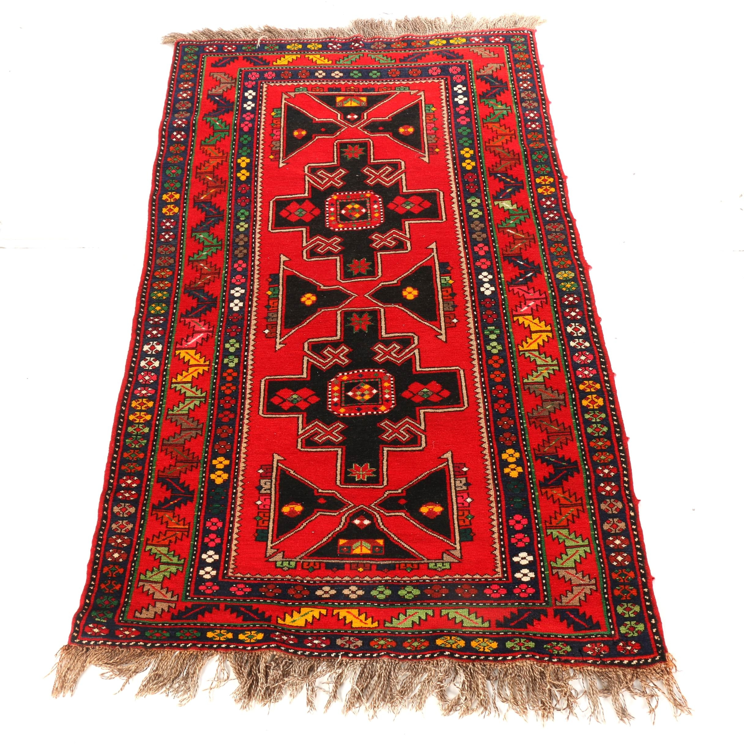 Hand-Knotted Nomadic Caucasian Area Rug