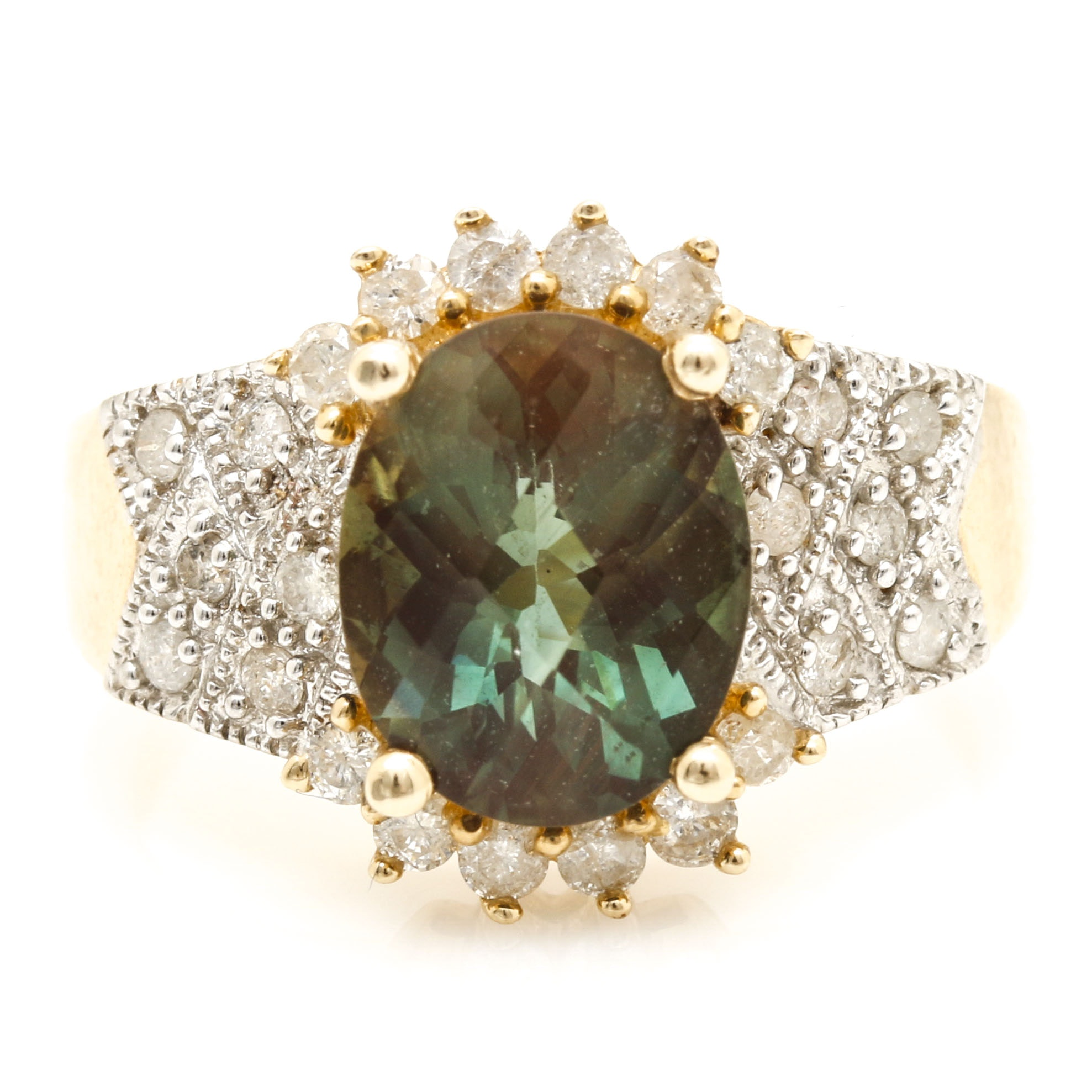 14K Yellow Gold Green Andesine and Diamond Ring