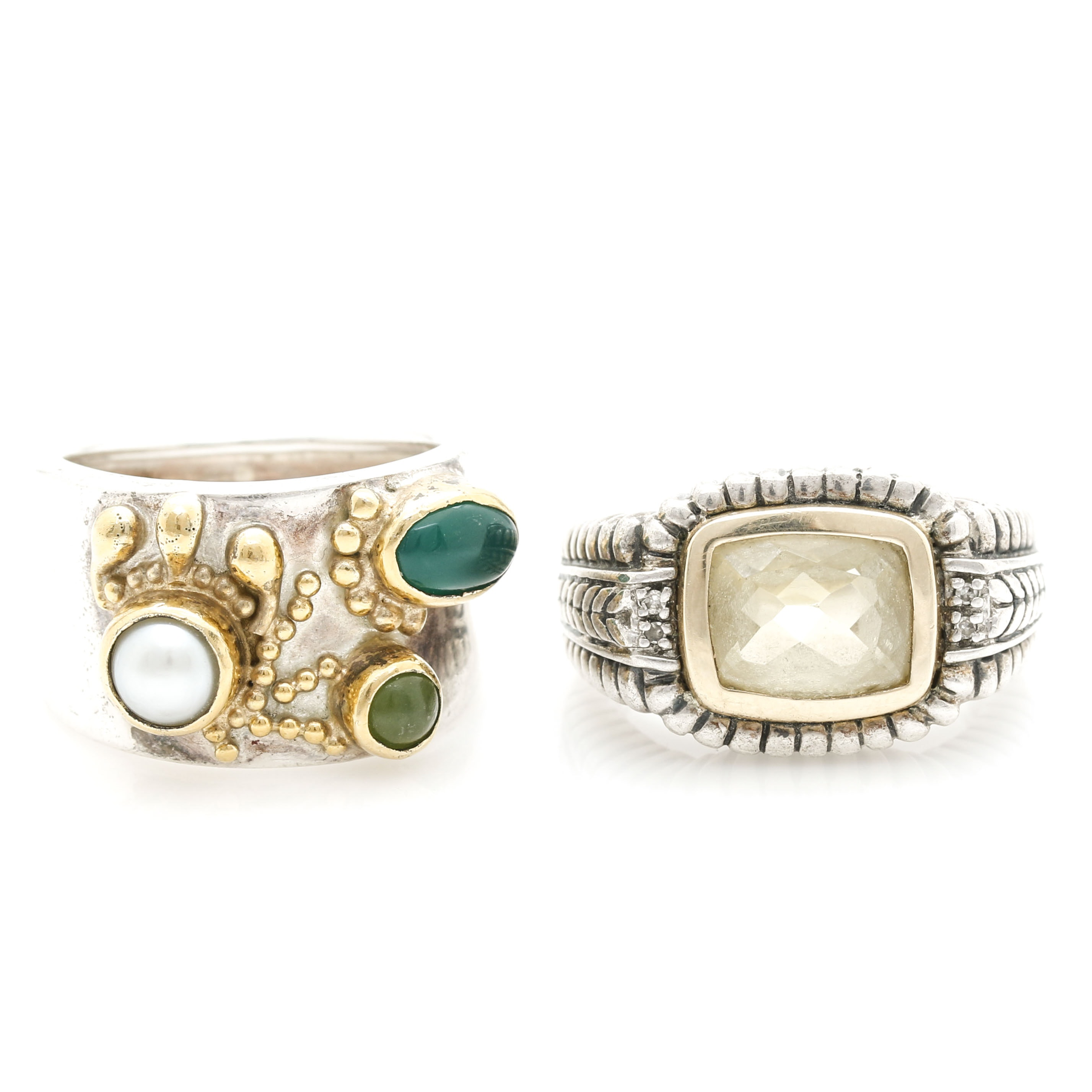 Sterling Silver Rings With Citrine, Green Chalcedony, Pearl and Nephrite