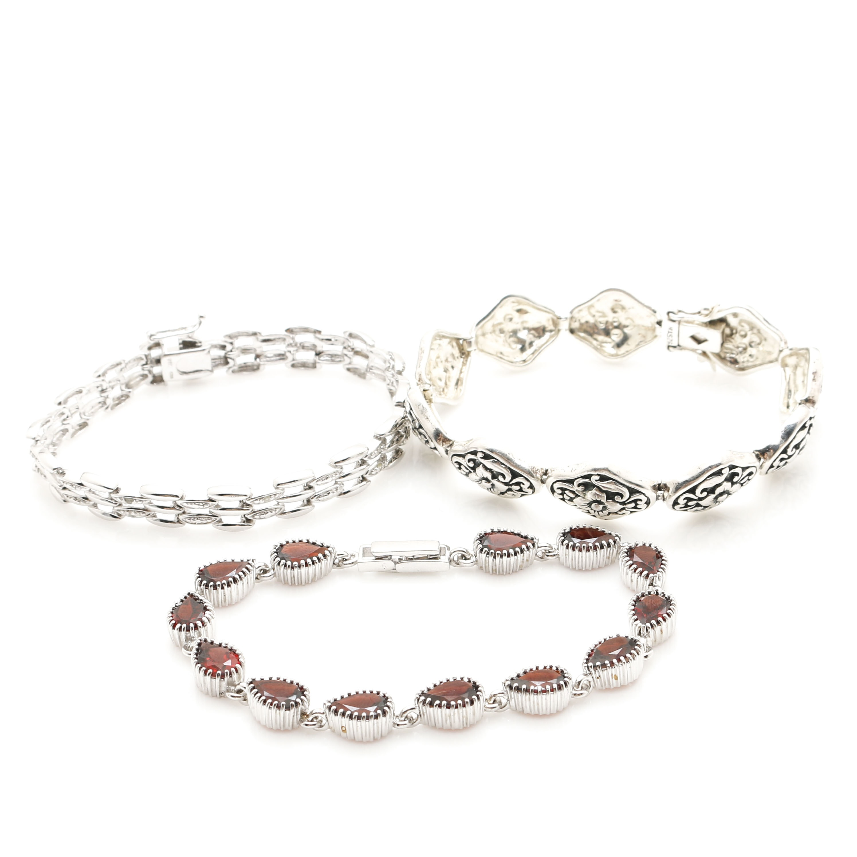 Sterling Silver Bracelets With Garnets and Diamonds