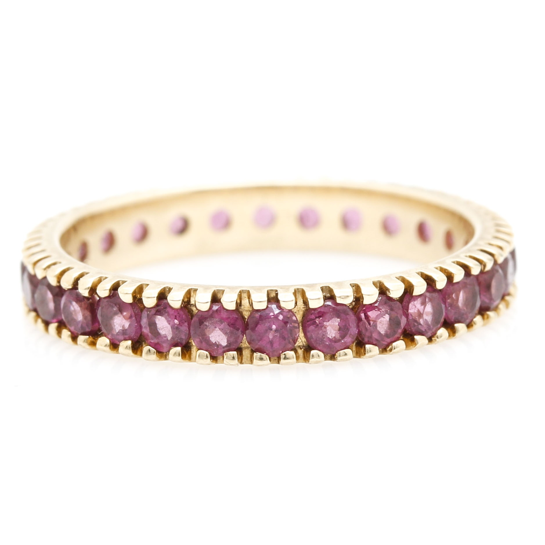 14K Yellow Gold and Amethyst Ring Band