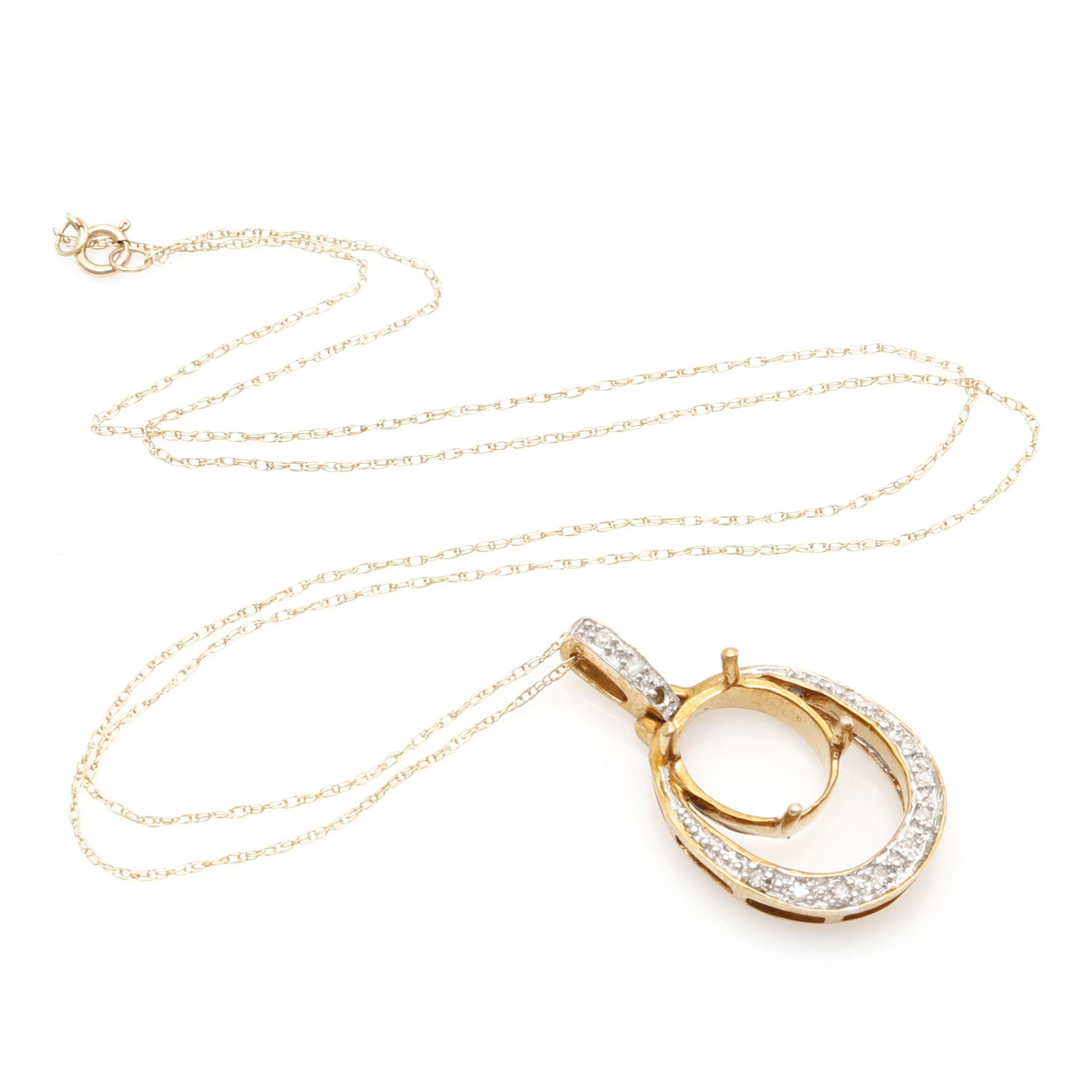 10K Yellow Gold Diamond Semi-Mount Pendant Necklace.
