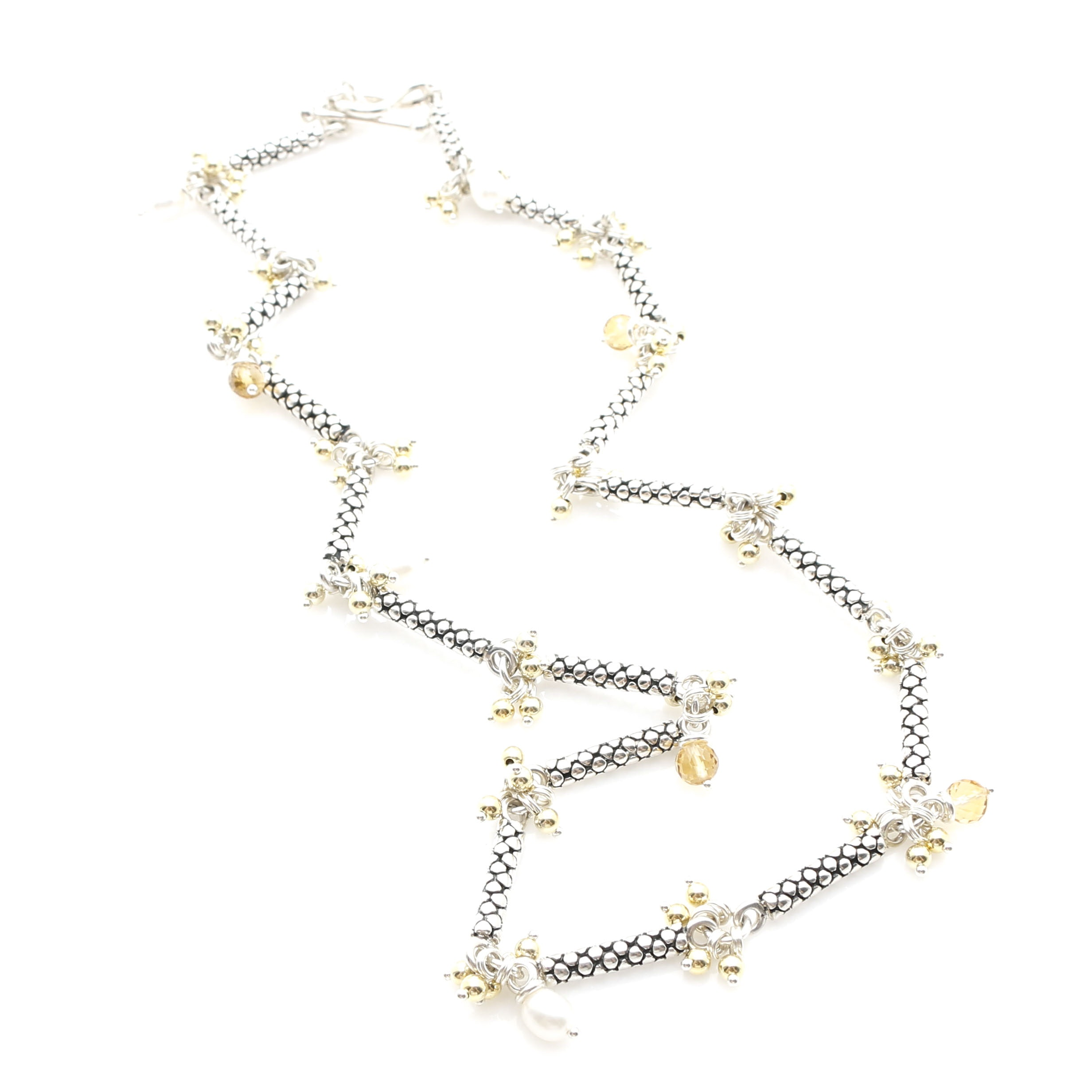 Michael Dawkins Sterling Silver Freshwater Pearl and Citrine Caviar Link Necklace
