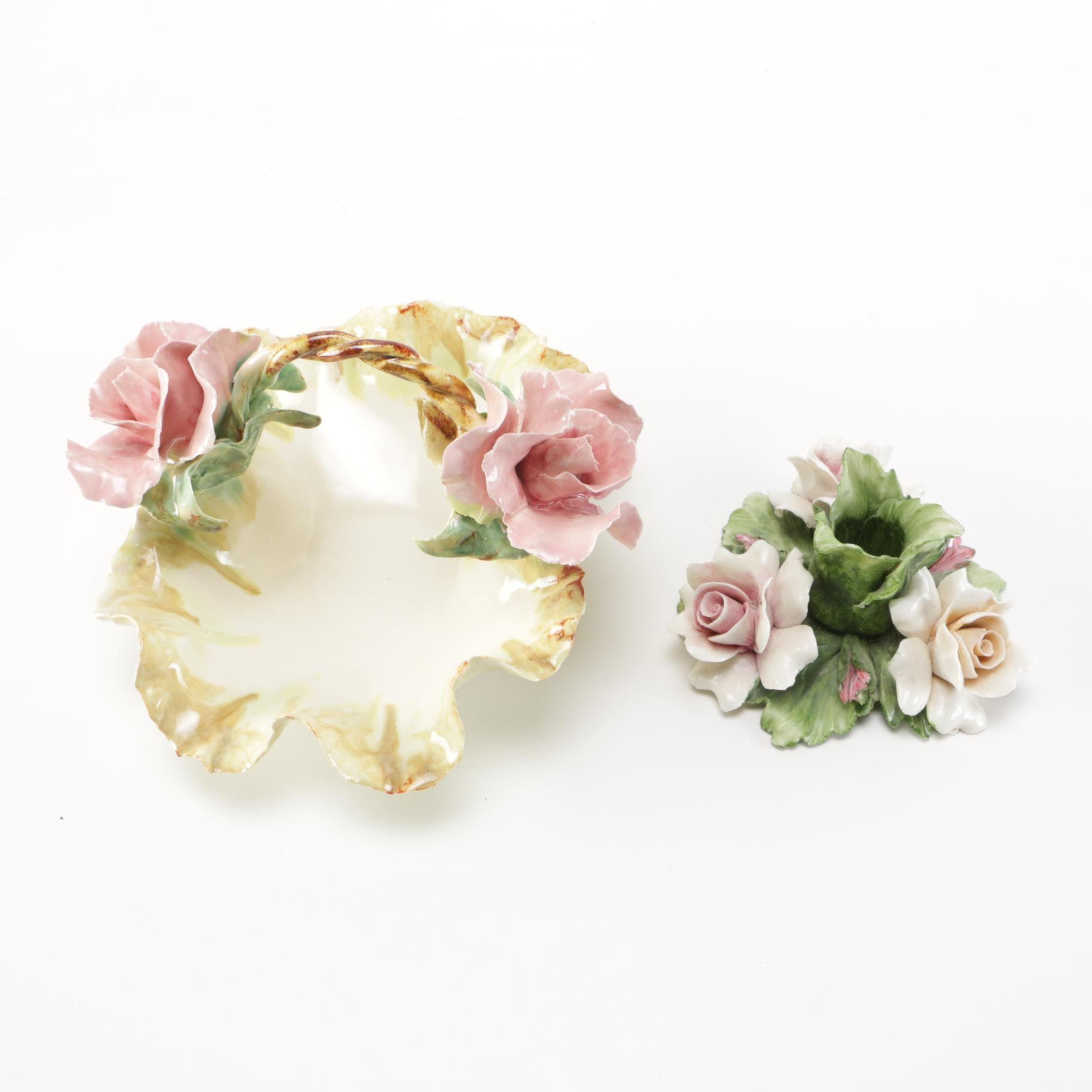 Capodimonte Candle Holder and Porcelain Dish
