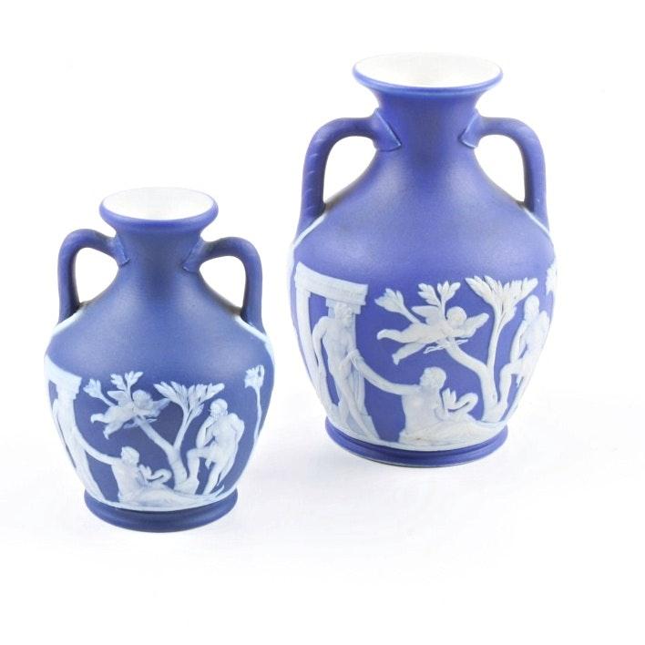 Two Wedgwood Cobalt Jasperware Vases
