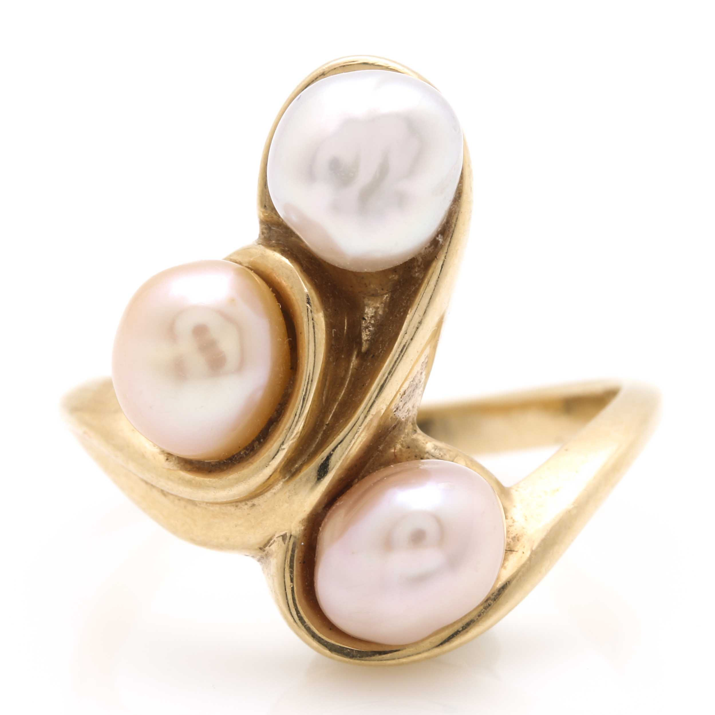 14K Yellow Gold Baroque Cultured Pearl Ring