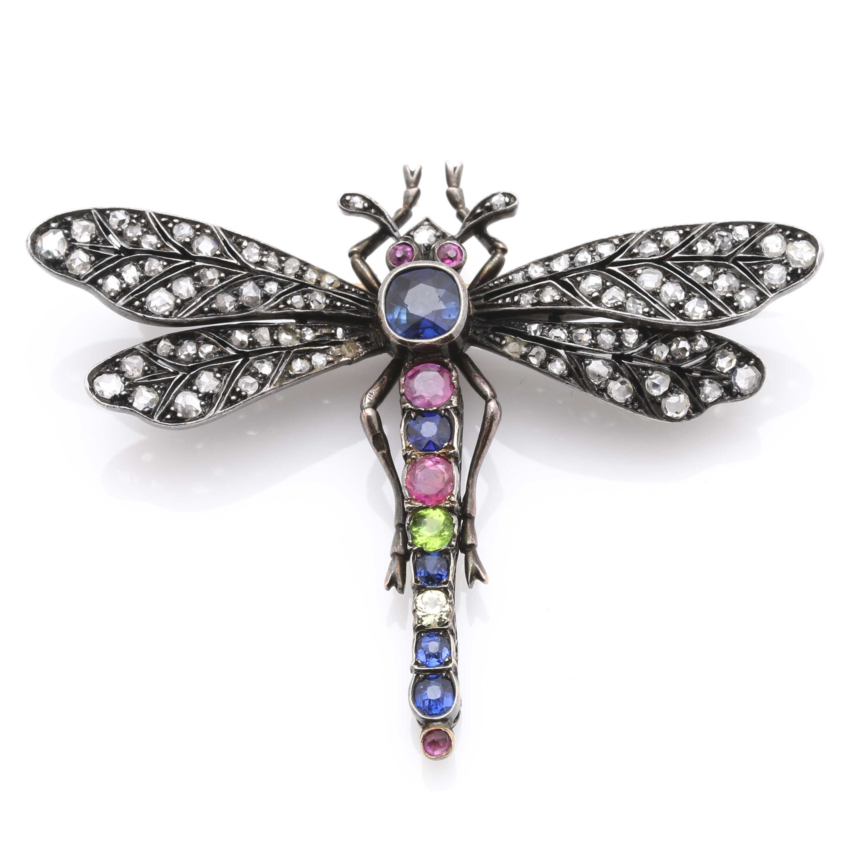18K Yellow Gold and Sterling Silver Gemstone French Art Nouveau Style Dragonfly