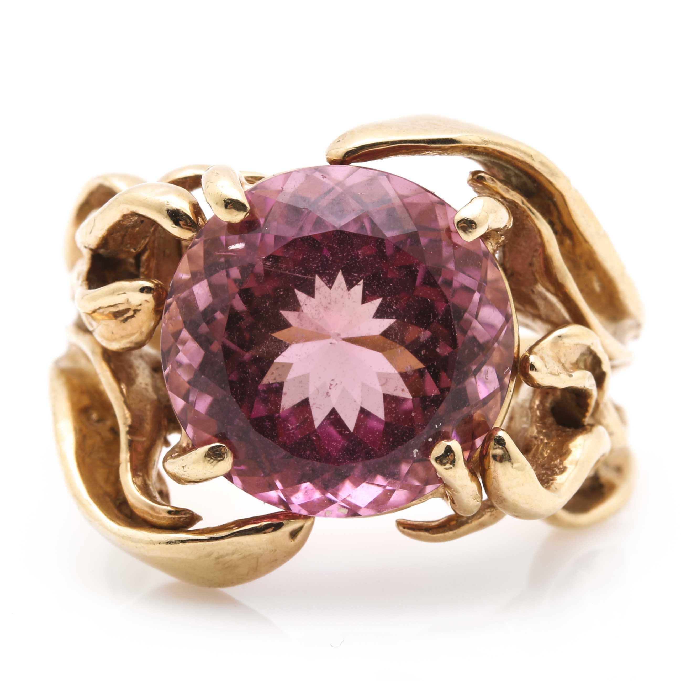 10K Yellow Gold Pink Tourmaline Ring