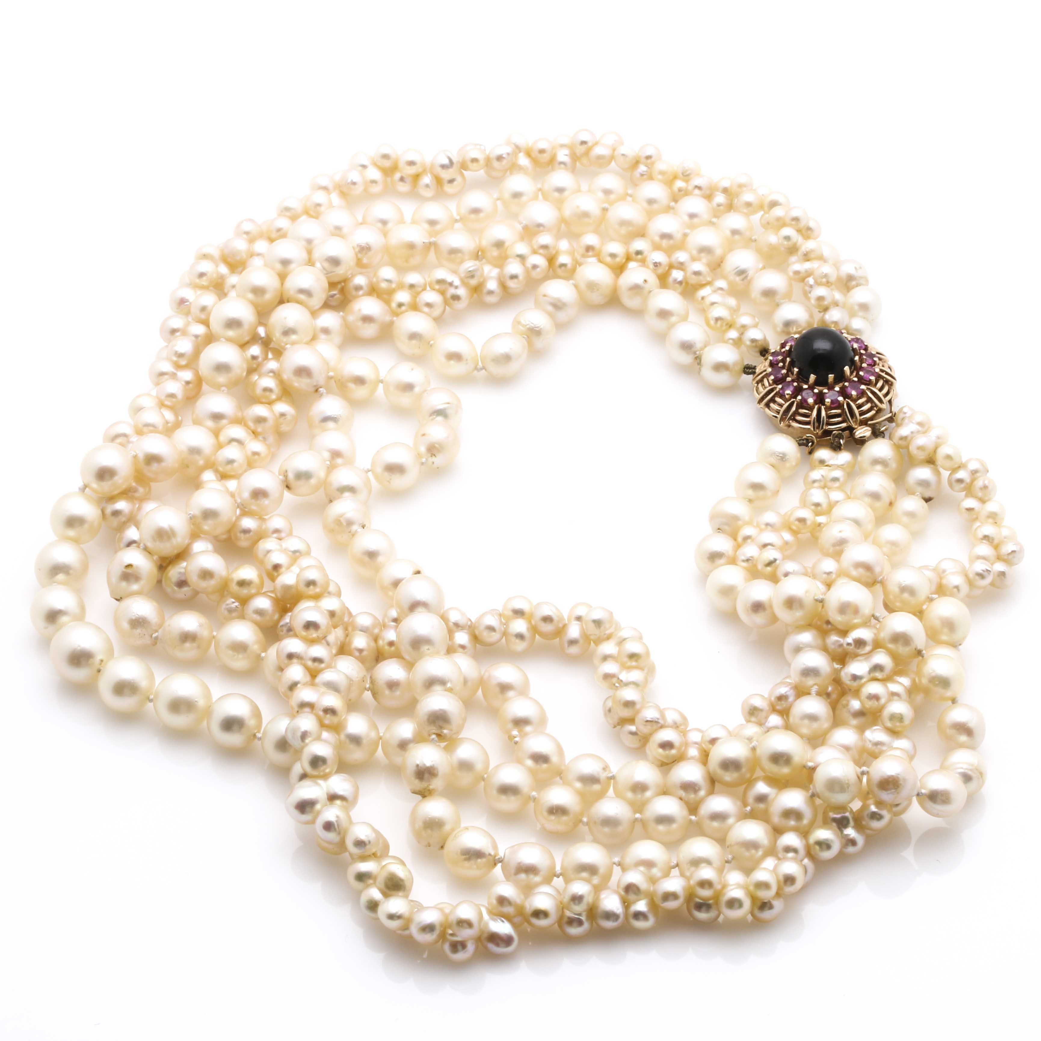 14K Yellow Gold Clasped Multiple Stranded Pearl Choker