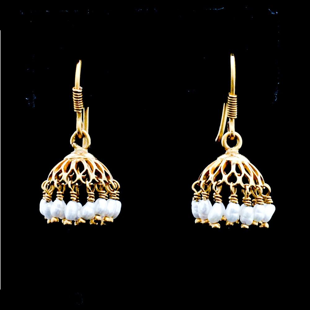 18K Yellow Gold Pearl Chandelier Earrings