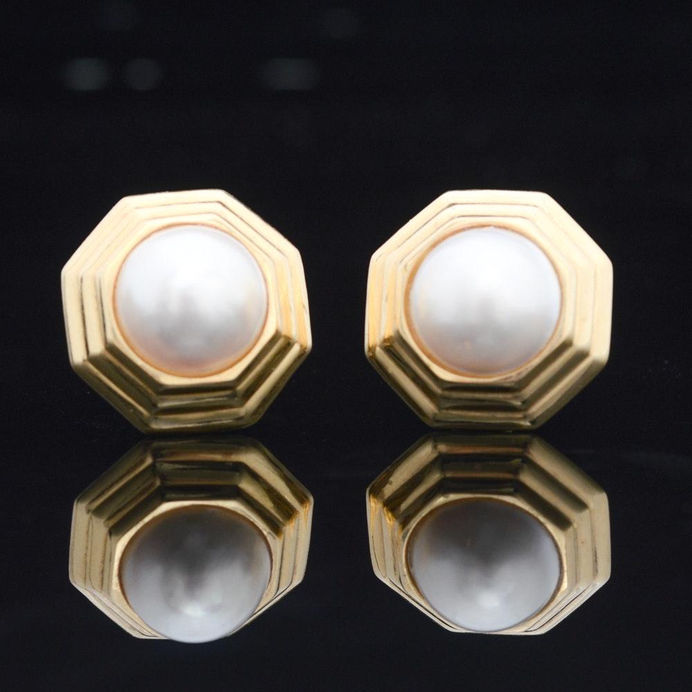 18K Yellow Gold Mabé Pearl Earrings