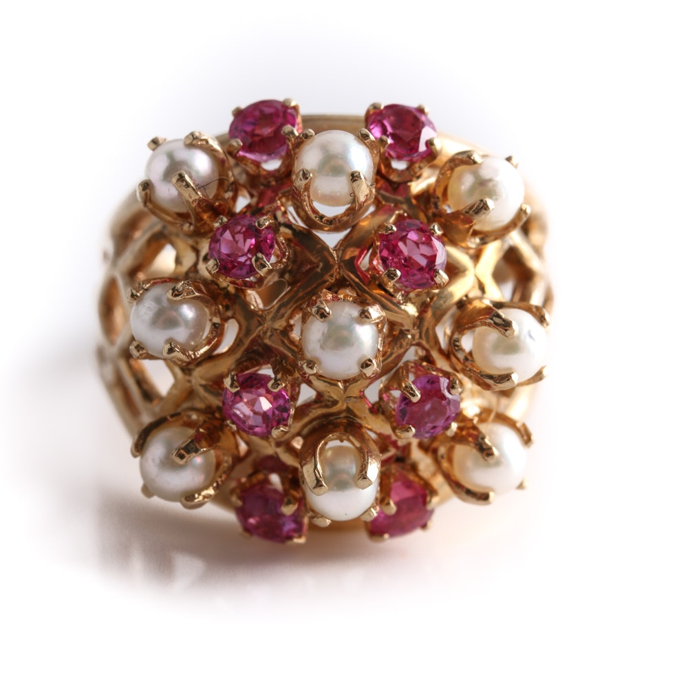 14K Yellow Gold Ruby and Cultured Pearl Ring