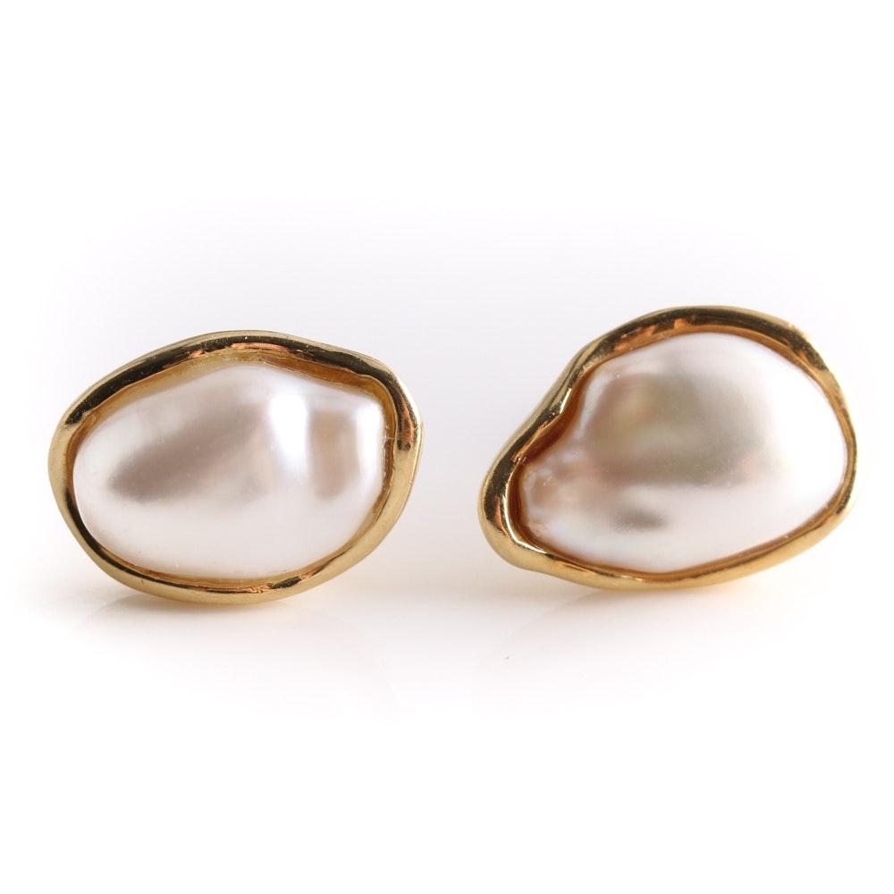 Tiffany & Co. 18K Yellow Gold Cultured Pearl Earrings