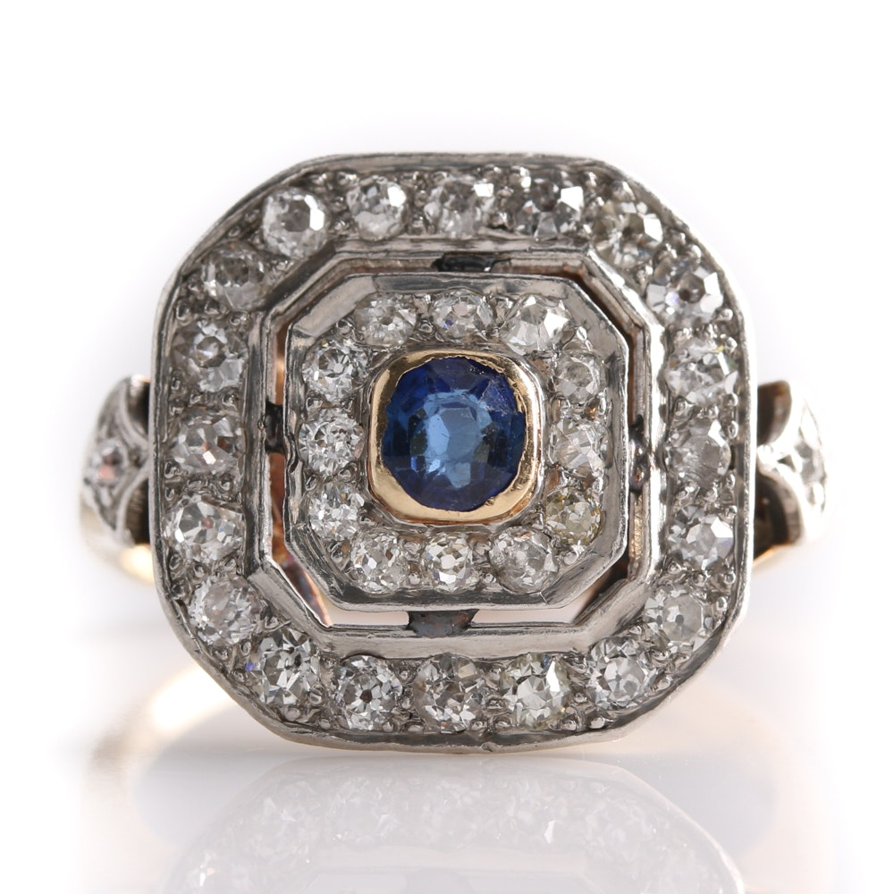 14K Yellow Gold and Platinum Sapphire and Diamond Ring