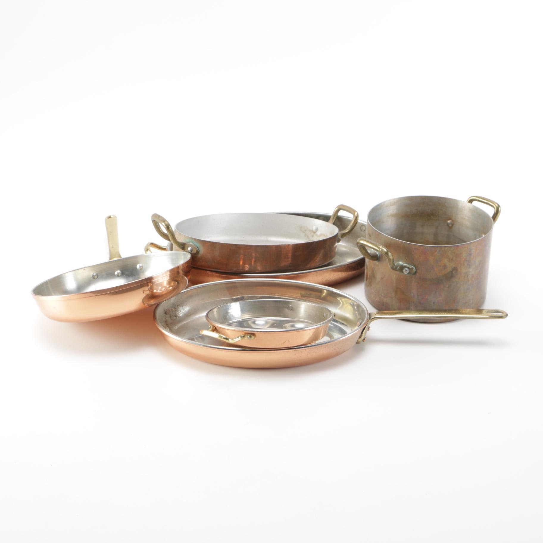 Vintage Copper Pots Including Tagus From Portugal