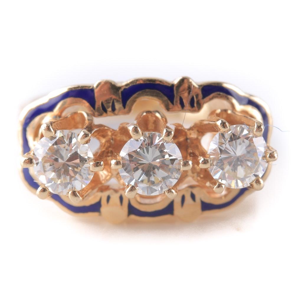 14K Yellow Gold Diamond and Enamel Ring