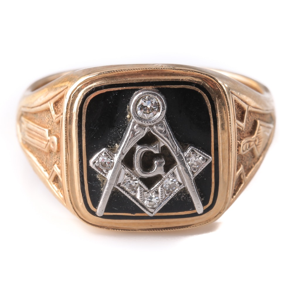 14K Two-Tone Gold Diamond Freemason Square and Compass Ring
