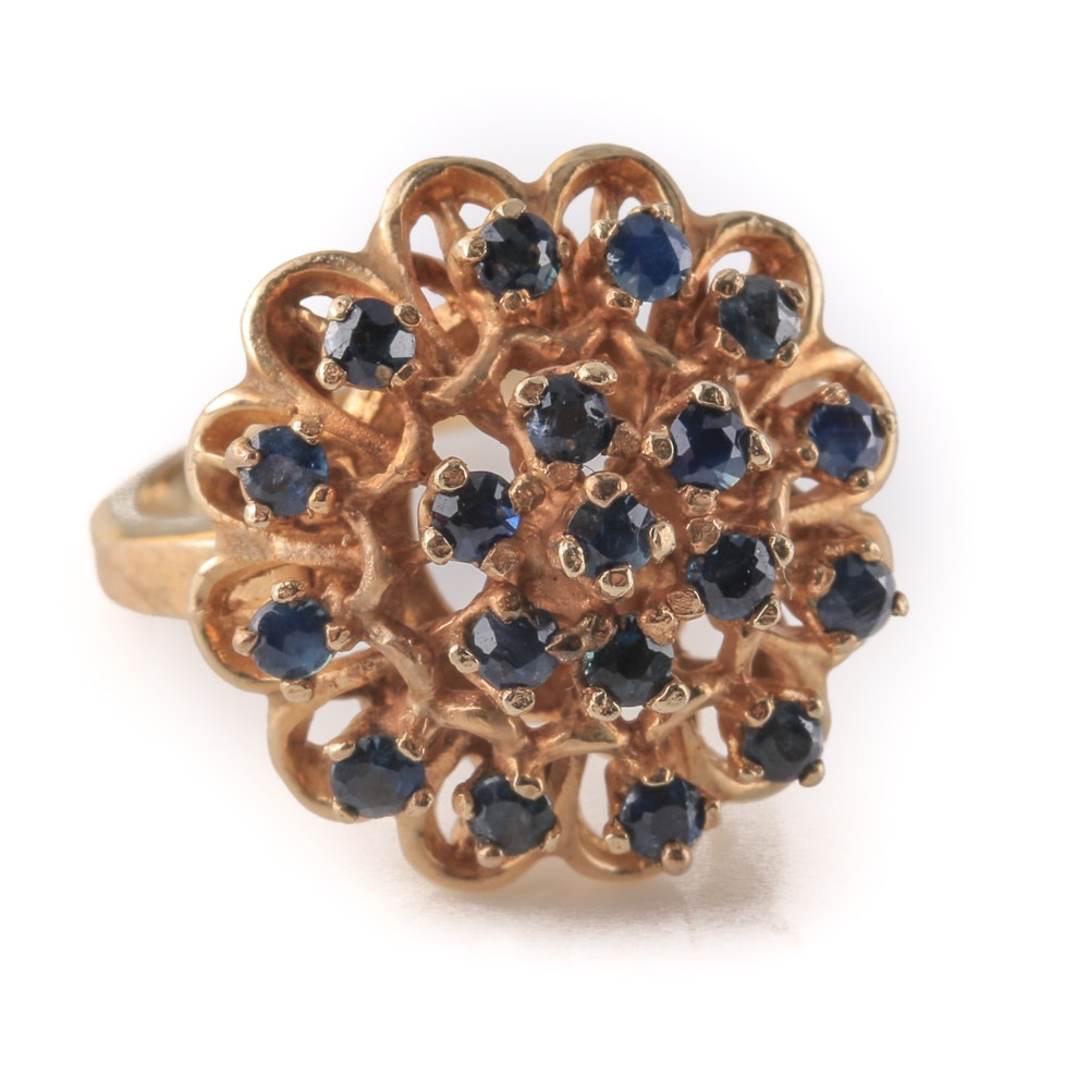14K Yellow Gold Sapphire Floral Ring