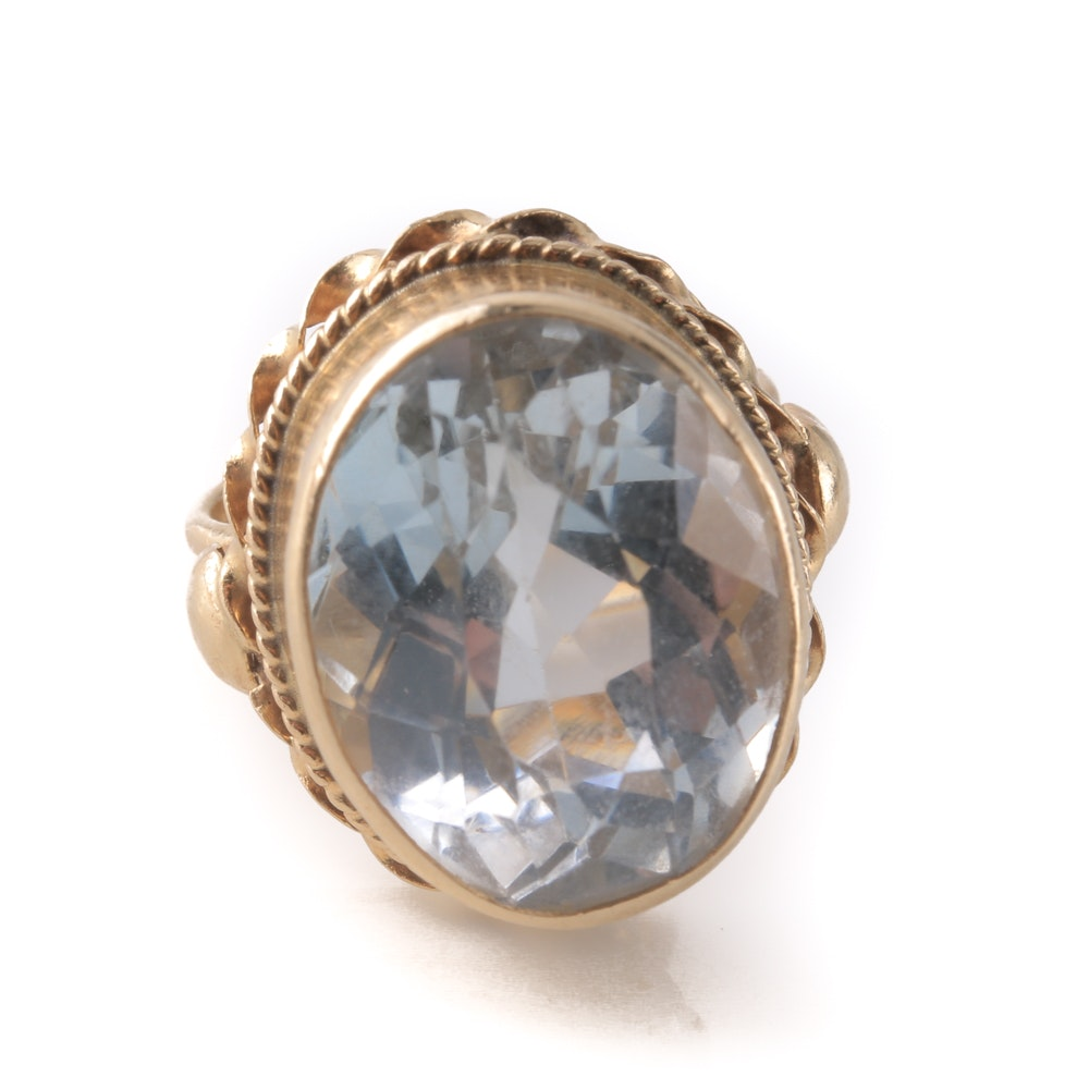 14K Yellow Gold 13.86 CTS Blue Topaz Ring