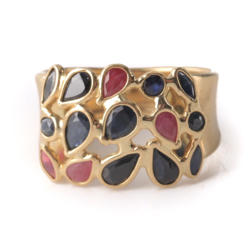 18K Yellow Gold Sapphire and Ruby Ring