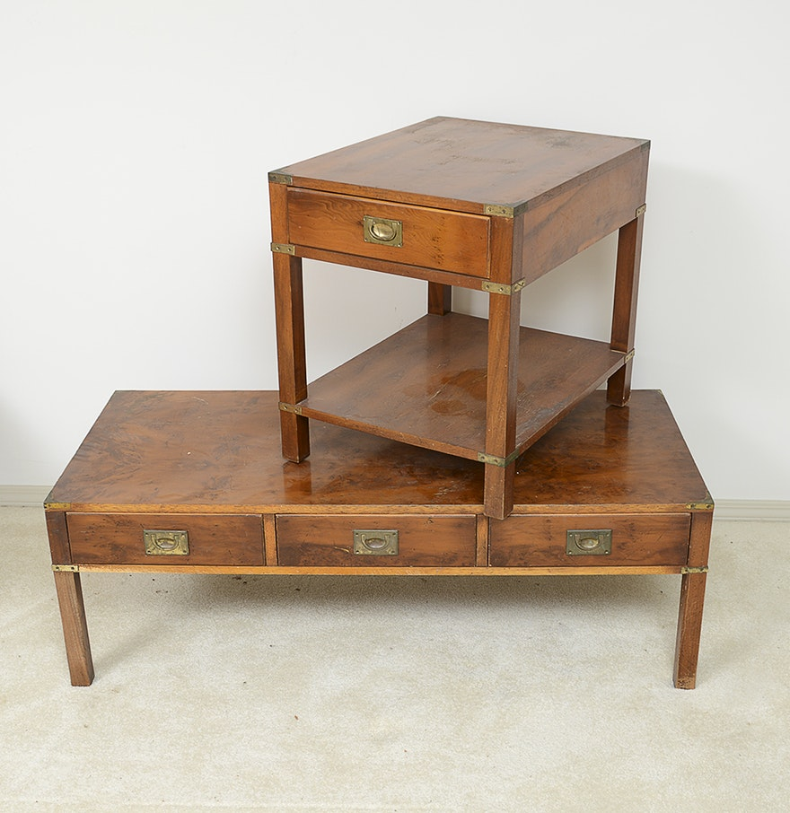- Vintage Campaign Style Coffee Table And End Table By Ethan Allen