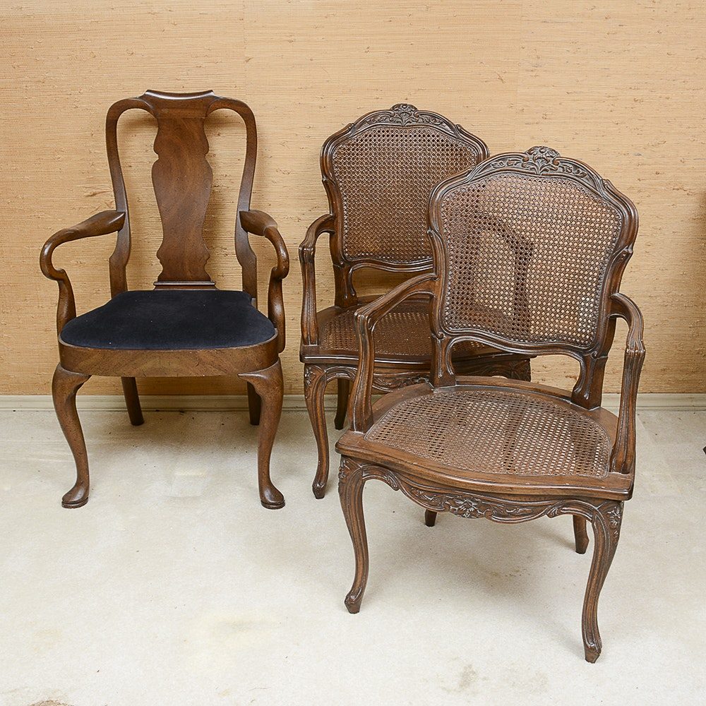 Louis XV Style Chairs And Queen Anne Style Chair ...