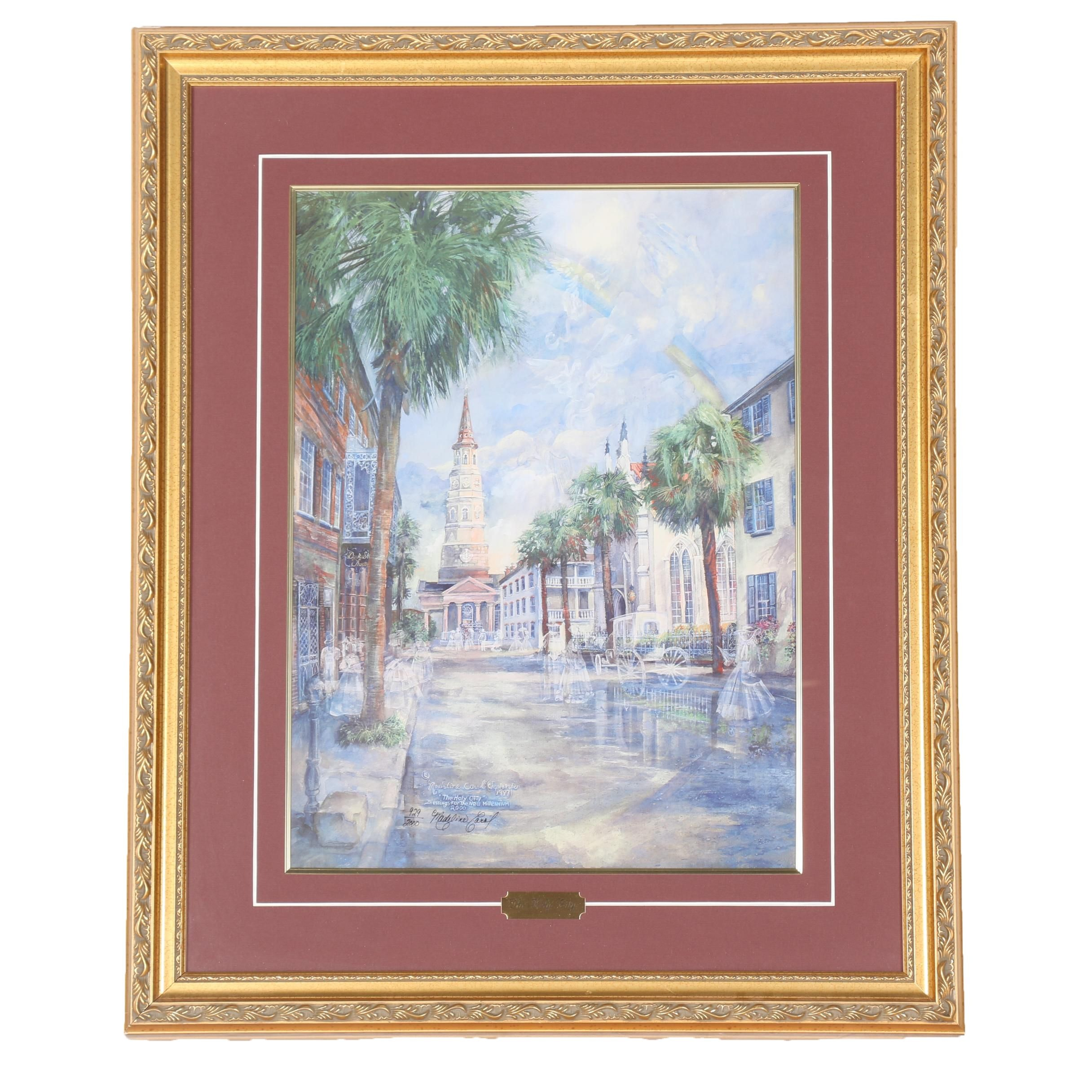 """Madeline Carol Limited Edition Offset Lithograph """"The Holy City"""""""
