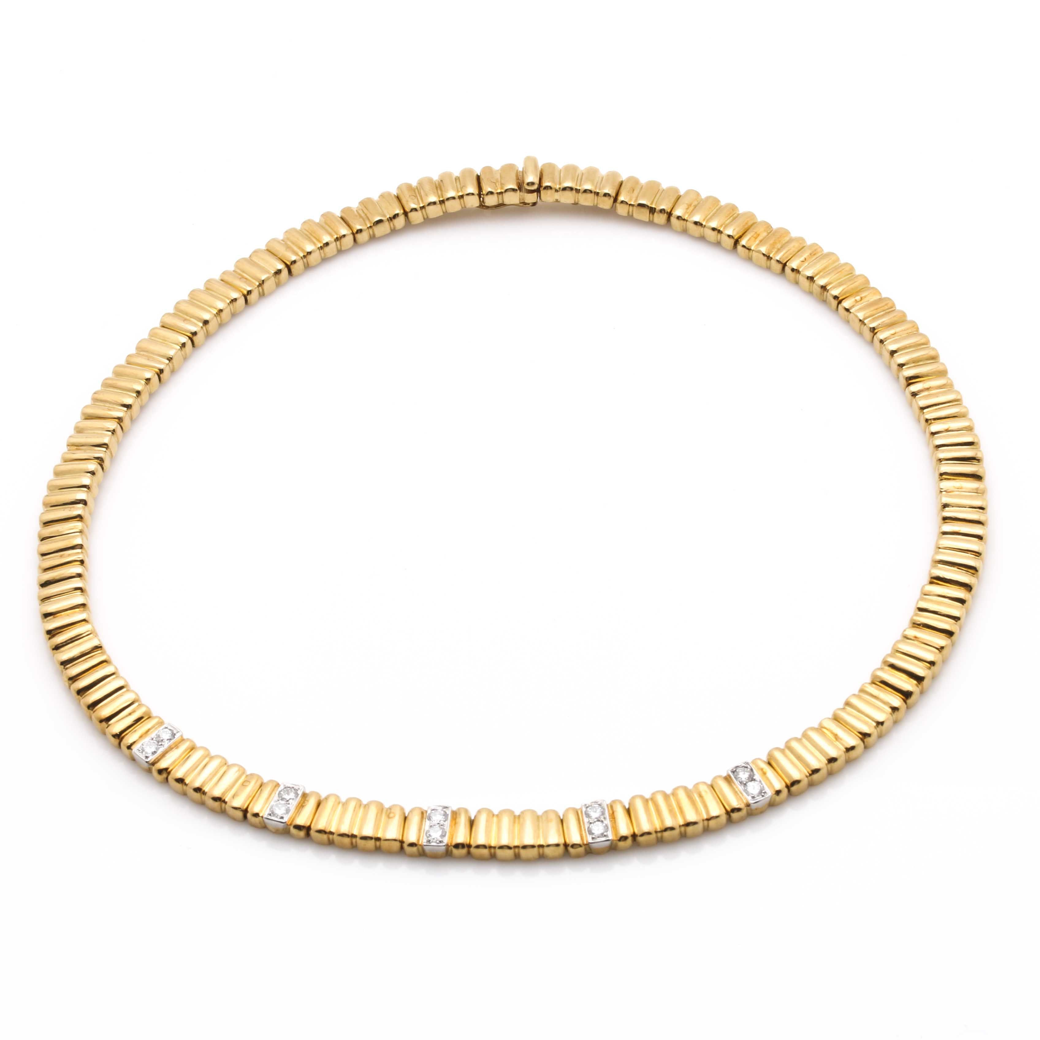 18K Yellow and White Gold Fancy Linked Diamond Necklace