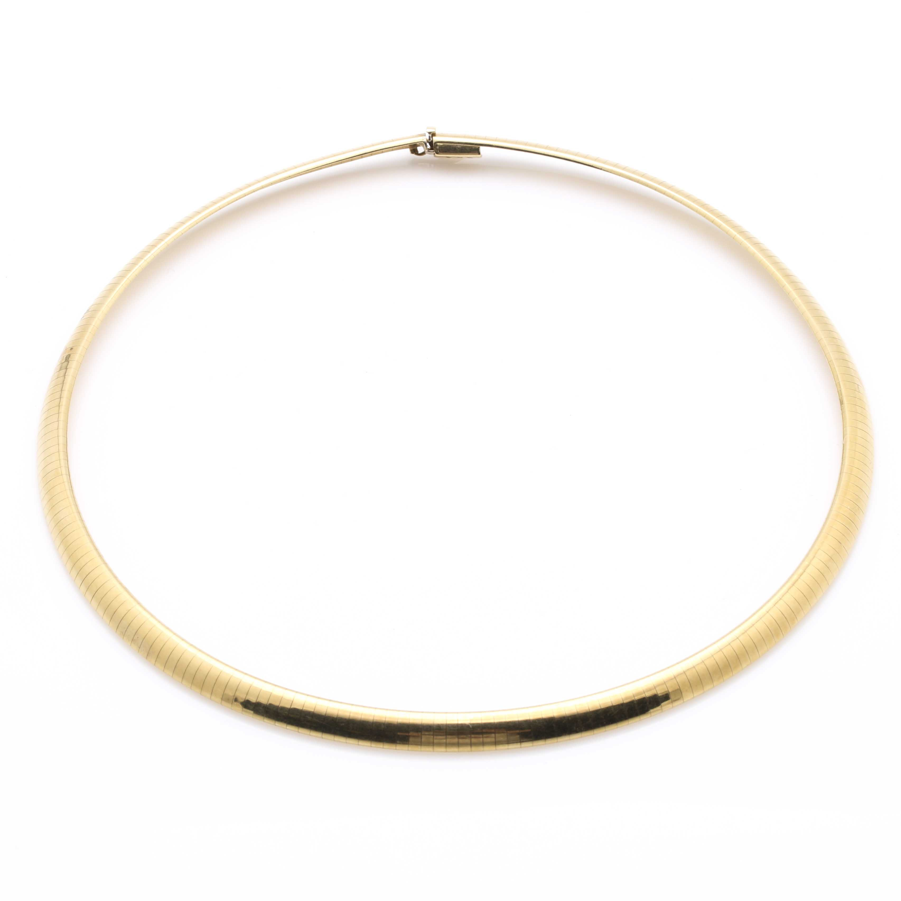 18K Yellow Gold Omega Chain Necklace