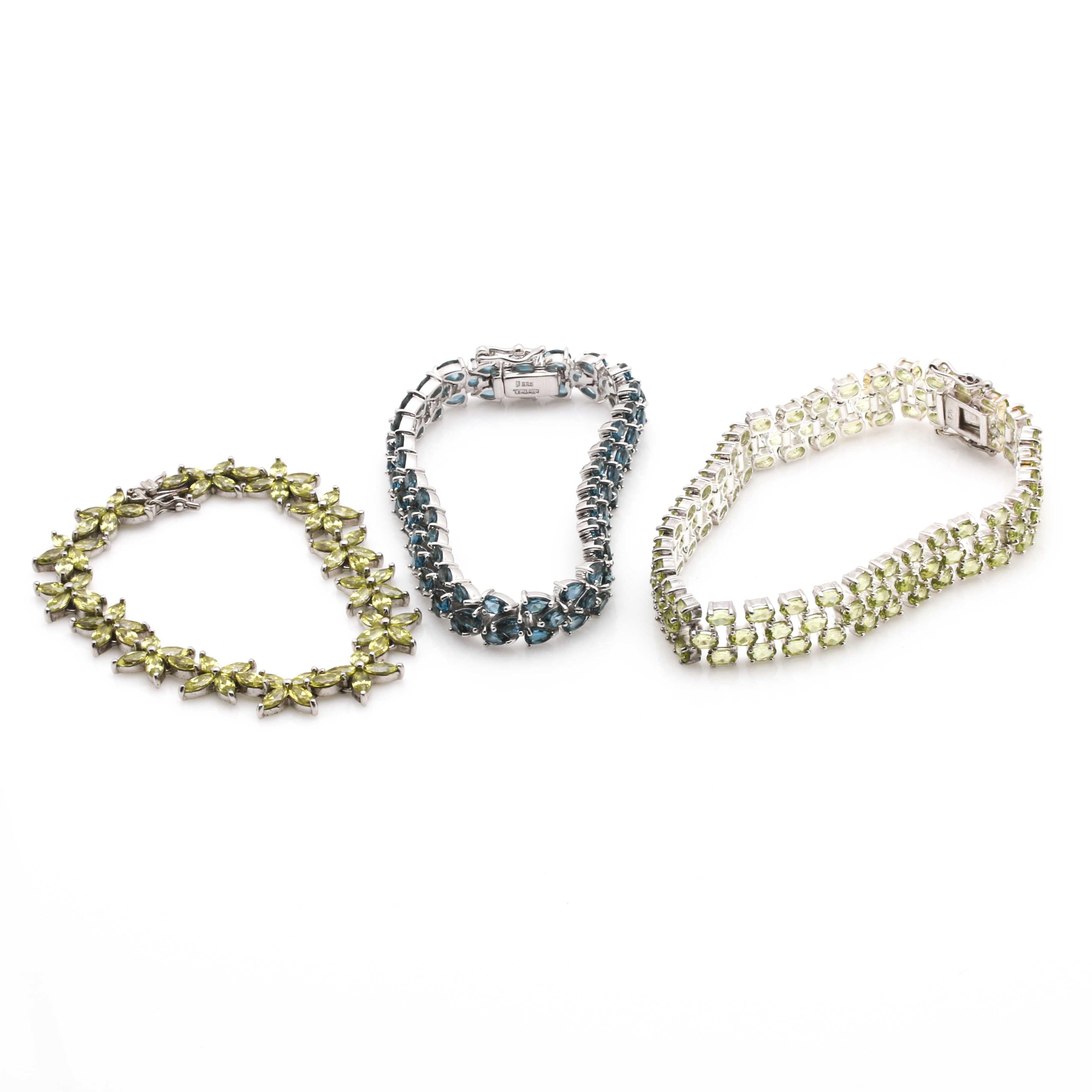 Sterling Silver Bracelets With Various Gemstones