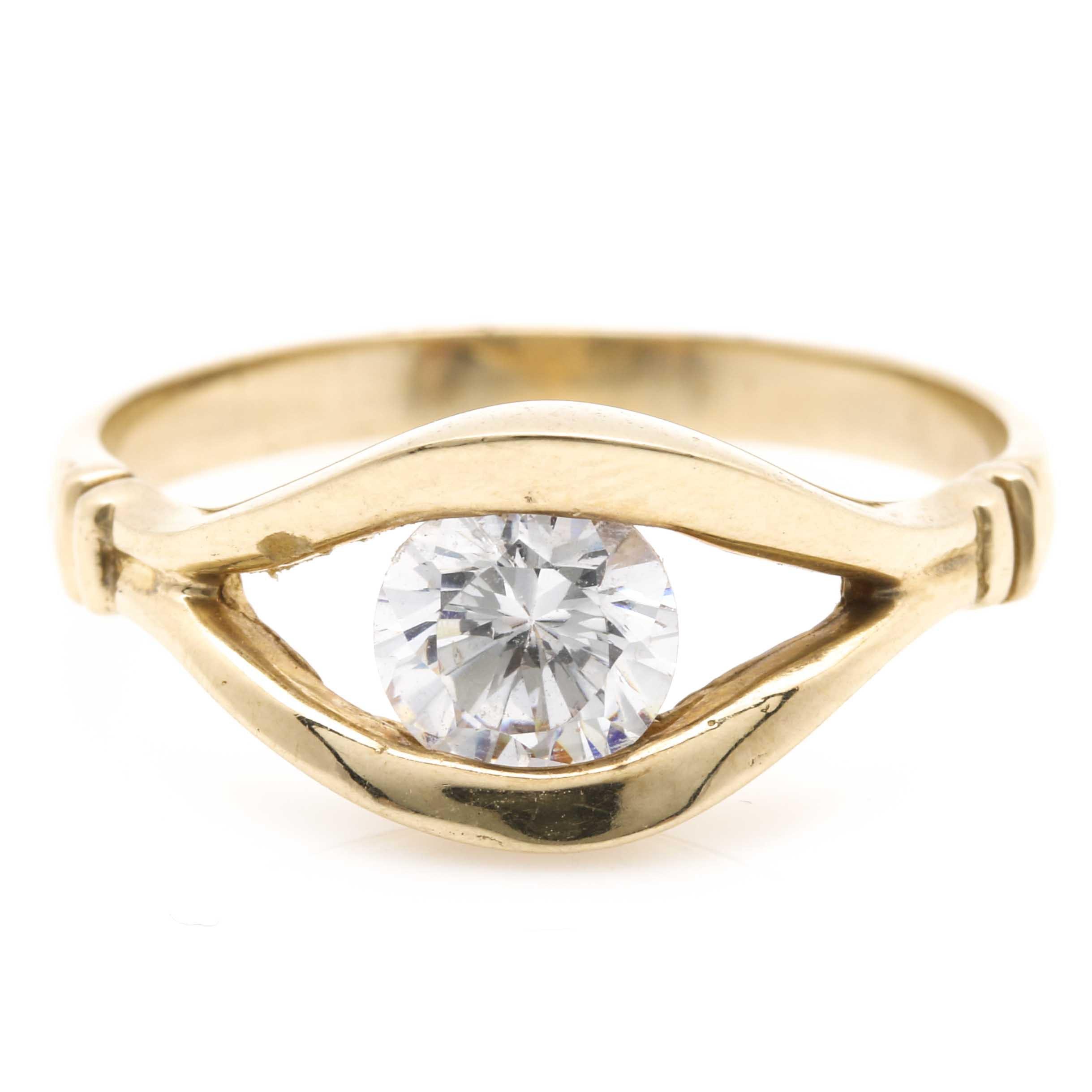 14K Yellow Gold Cubic Zirconia Ring
