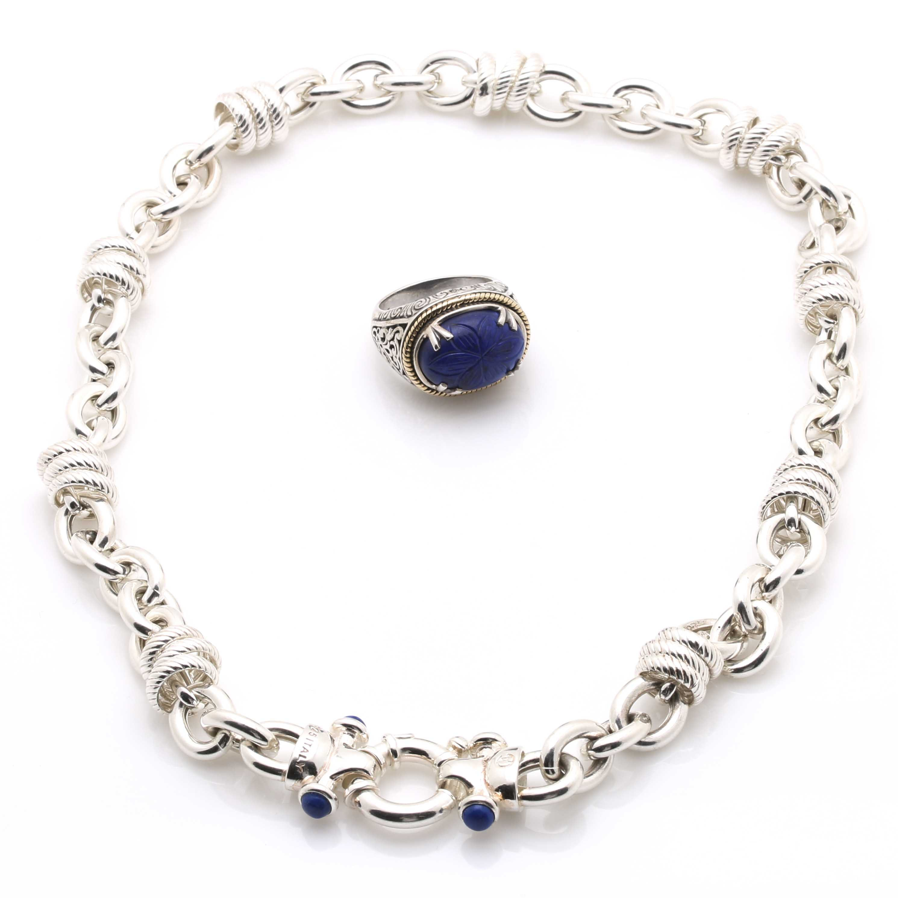Sterling Silver Lapis Lazuli Necklace and Ring