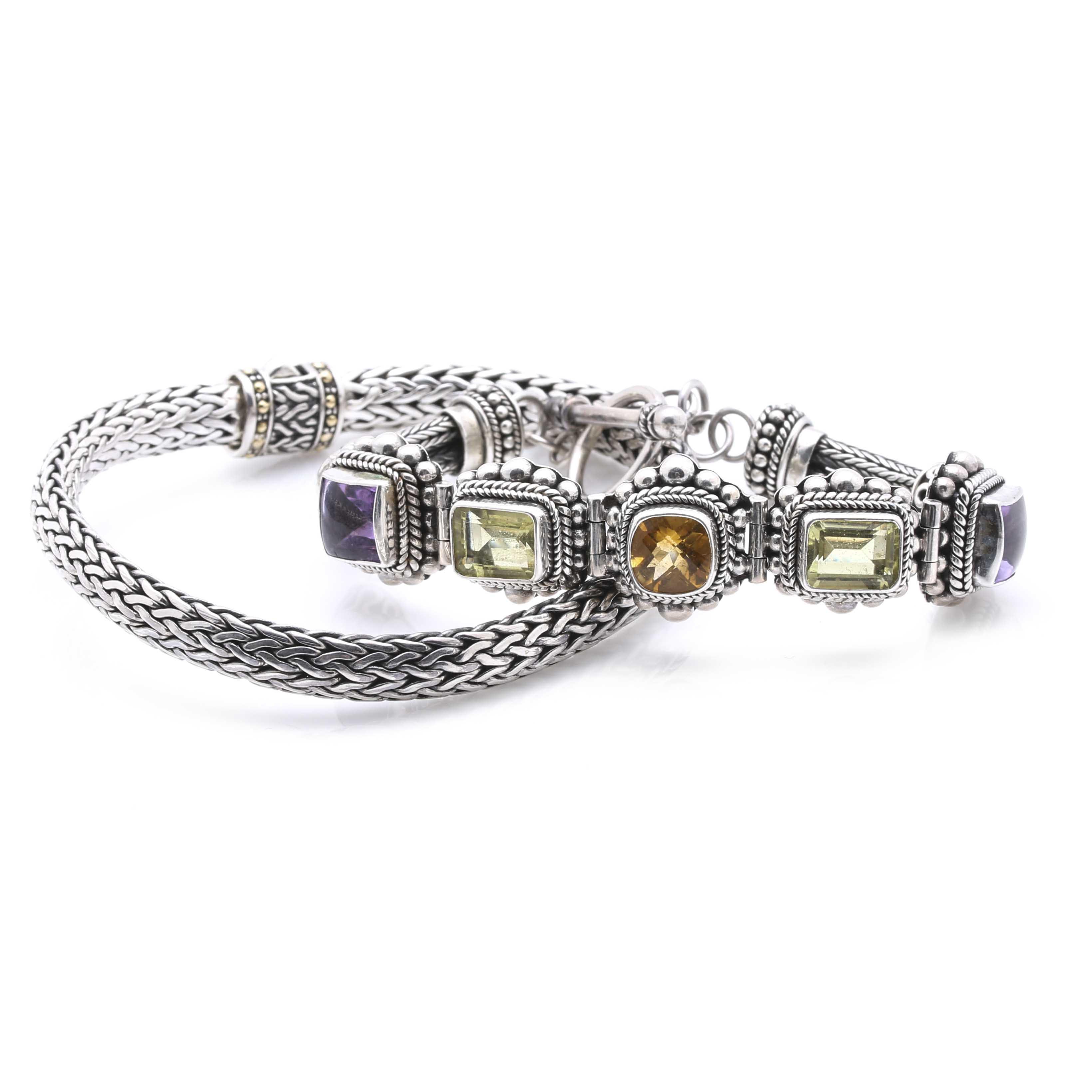 Sterling Silver Bracelets Including Prasiolite, Amethyst, and Citrine